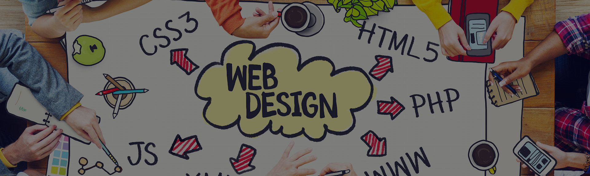 Hands and web design text
